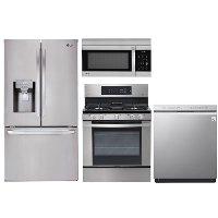 KIT LG 4 Piece Gas Kitchen Appliance Package with French Door Refrigerator - Stainless Steel