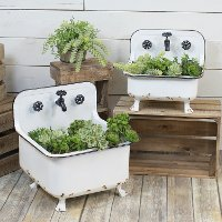 13 Inch Distressed White Metal Wash Bin Planter