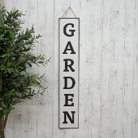 White and Black Garden Metal Word Wall Art