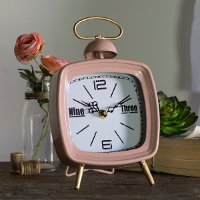 Pink Retro Metal Tabletop Clock