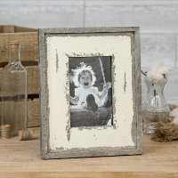 Distressed Gray Wood and White Tabletop Picture Frame