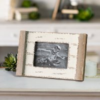 Distressed Brown and White Tabletop Picture Frame