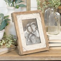 Distressed Brown and White Wooden Picture Frame