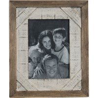 Distressed Wood Picture Frame with White Border