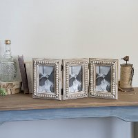 Brown Wood Triple Opening Accordion Style Picture Frame