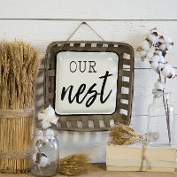 Brown, White and Black Our Nest Wall Sign
