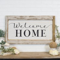 Distressed White and Black Welcome Home Wooden Sign