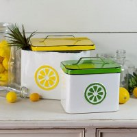 6 Inch Green and White Metal Lemonade Canister with Lid
