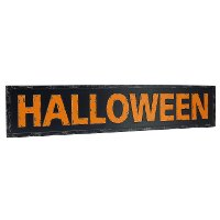 Distressed Orange and Black Halloween Metal Word Art Sign