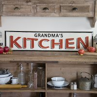 Red, Black and White Grandma's Kitchen Metal Sign