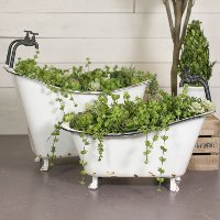 27 Inch White and Black Metal Tub Planter