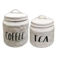 Cream and Black Ceramic Tea Lidded Canister