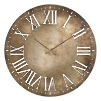 Over-sized Round Antique Champagne Iron Wall Clock - Henrik