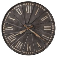 35 Inch Antique Charcoal Metal Wall Clock - Stockard