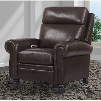 Clydesdale Brown Leather-Match High Leg Power Recliner - Douglas