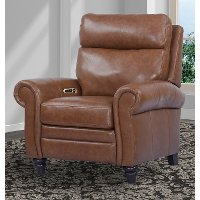 Bourbon Brown Leather-Match High Leg Power Recliner - Douglas