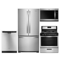 KIT Whirlpool 4 Piece Gas Kitchen Appliance Package with French Door Refrigerator - Stainless Steel
