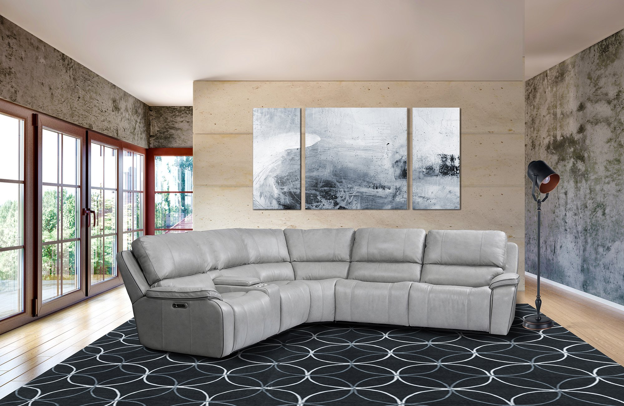 Rc Willeymist Light Gray 6 Piece Power Reclining Sectional Sofa Harry Dailymail