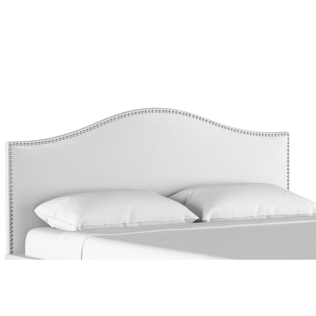 Clic Camelback White Twin Upholstered Headboard