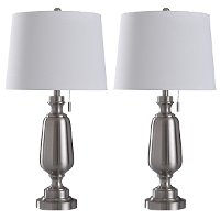 Brushed Steel Pair of Table Lamps with Pull Chains