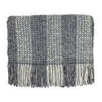 Smoke Gray and Cream Greenwich Throw Blanket