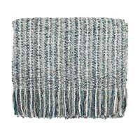 Teal Blue, Gray and Cream Stria Throw Blanket
