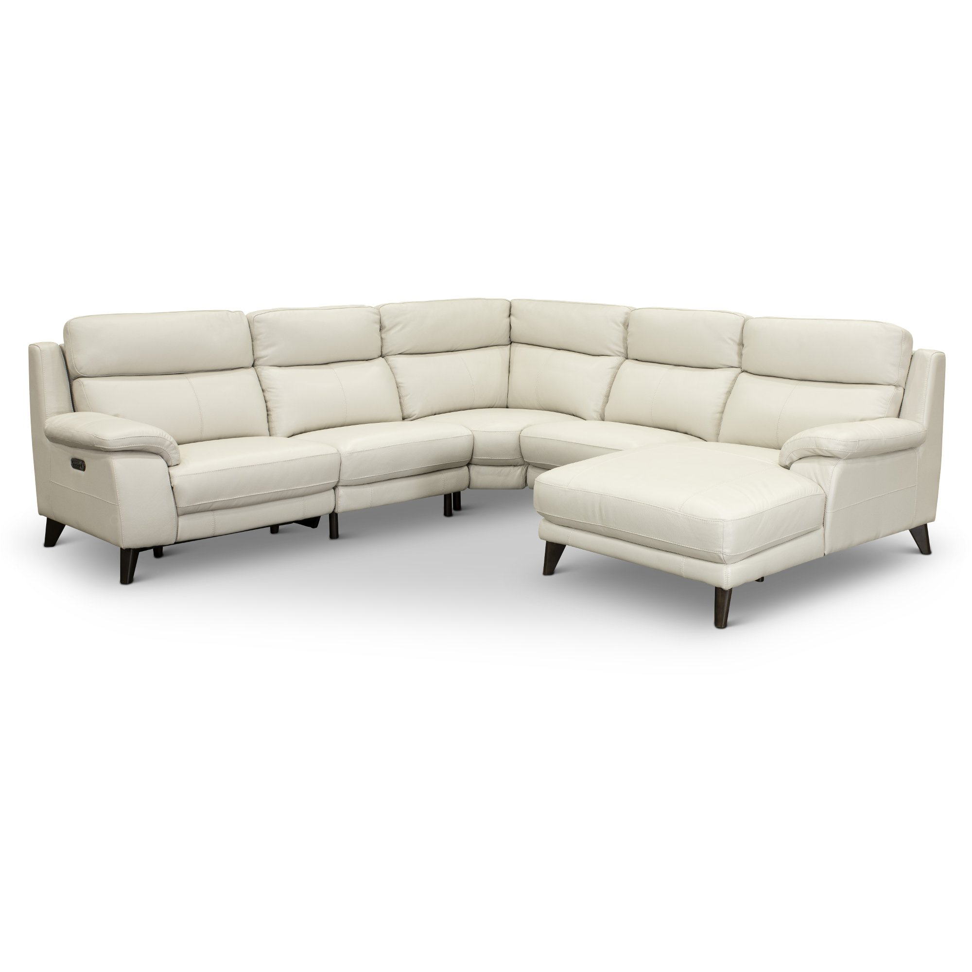 White Leather Sectional Sofa frost white 5 piece power reclining sectional sofa - venice