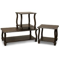 Cherry Brown 3 Piece Coffee Table Set - Carshaw