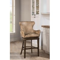 4346-826 Taupe Upholstered Swivel Counter Height Stool - Caydena