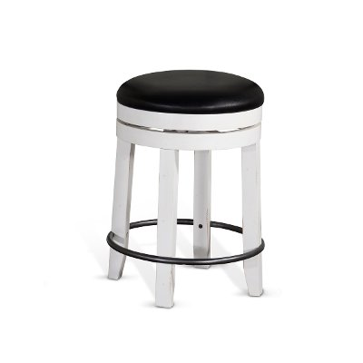 French Country White and Black Swivel Counter Height Stool - Bourbon County