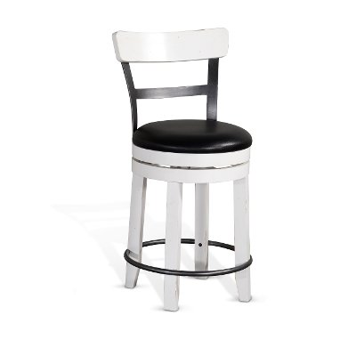 French Country White Two Tone Swivel Counter Height Stool - Bourbon County