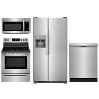 KIT Frigidaire 4 Piece Electric Kitchen Appliance Package with 26 cu. ft. Side by Side Refrigerator - Stainless Steel