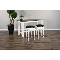 Brown and White 3 Piece Counter Height Dining Set with Backless Stools - Bourbon County