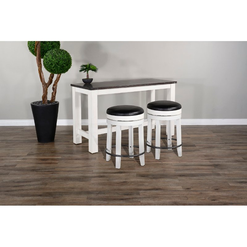 White 3 Piece Counter Height Dining Set