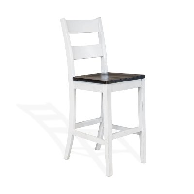 White and Dark Brown 30 Inch Ladderback Bar Stool - Boubron