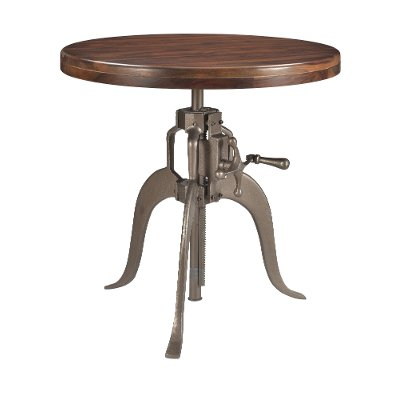 Brown and Silver Adjustable Round Dining Table - Bristol