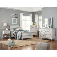 Traditional White 4 Piece Twin Bedroom Set - Sarah