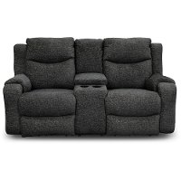 Casual Charcoal Gray Power Reclining Console Loveseat - Marvel