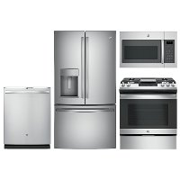 KIT GE 4 Piece Gas Kitchen Package with French Door Refrigerator - Stainless Steel