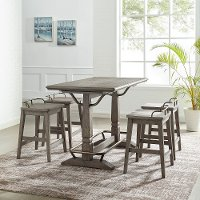 Farmhouse Gray 5 Piece Counter Height Dining Room Set - Ryan