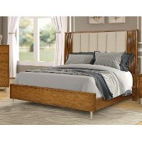 Modern Caramel Brown and Cream Queen Bed - Bamboo Wave