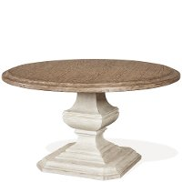 Antique Oak and White 54 Inch Round Dining Room Table - Elizabeth