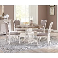 Smokey White and Oak 54 Inch Round 5 Piece Dining Set - Elizabeth