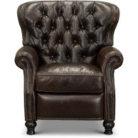 2568-10SHLCOC Cocoa Brown Leather Wingback Push Back Recliner - Cambridge
