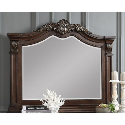 Traditional Brown Cherry Mirror - Evette