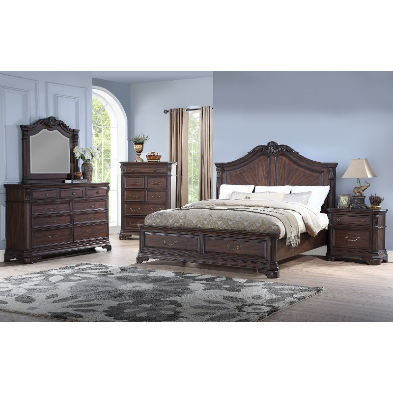 Brown Cherry 4 Piece King Bedroom Set Evette Rc Willey Furniture Store