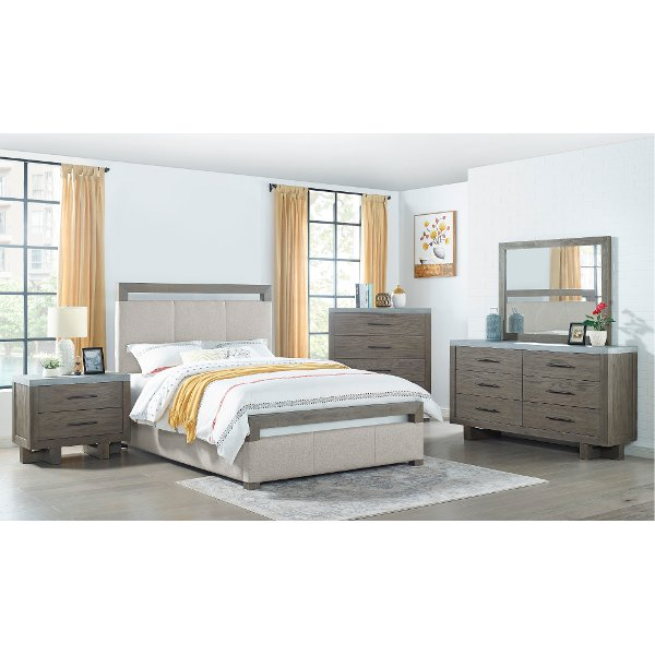 Taupe And Gray Oak 4 Piece Queen Bedroom Set Sandy Oak Rc Willey Furniture Store