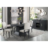 Contemporary Beige and Dark Gray 5 Piece Dining Set - Maddox