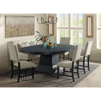 Contemporary Beige and Dark Gray 6 Piece Dining Set - Maddox
