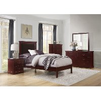 Cherry Brown 4 Piece Twin Bedroom Set - Seabright
